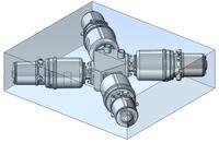 Ventilblock für die Säulenchromatographie in blauem Kubus