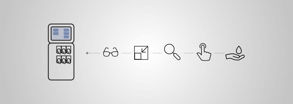 Typ 8905 mit verschiedenen Vorteil-Icons: Brille, Lupe, Box, Hand, die klickt und Hand mit Wassertropfen